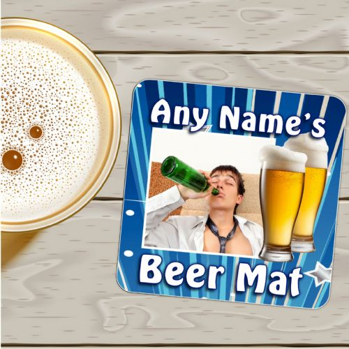 Personalised Photo Coaster N4 - Birthday, Christmas Fathers Day Gift - ANY NAME'S BEER MAT + PHOTO